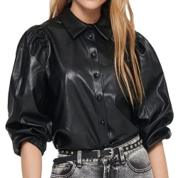 Only Ronya Puff Faux Leather Shirt nera 15213589