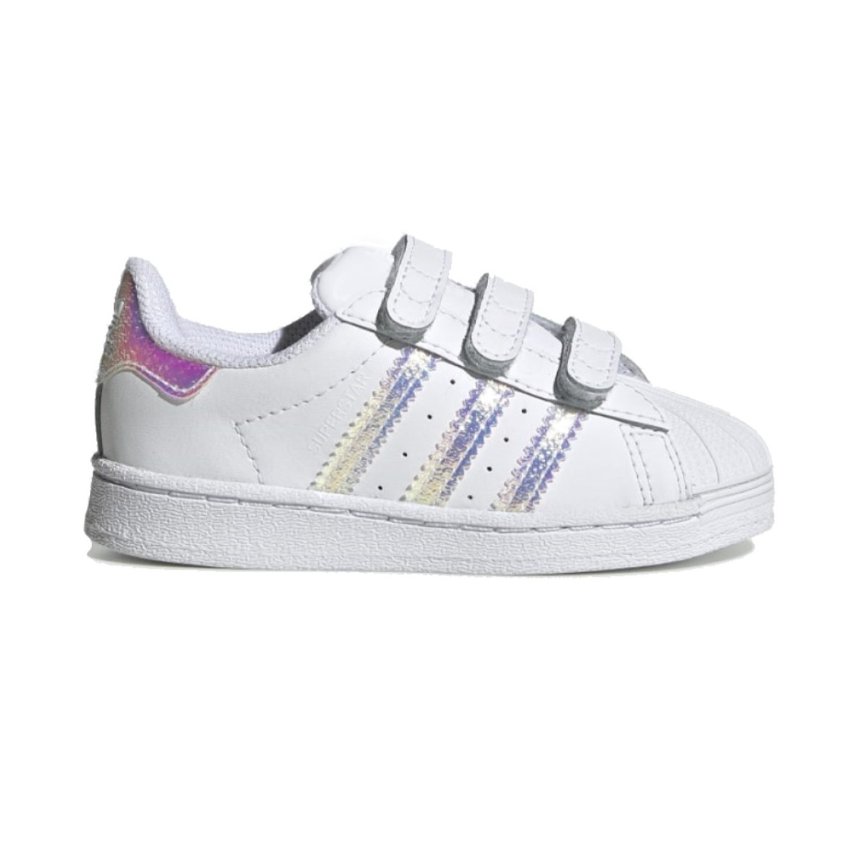 Adidas Superstar CF Infant bianca con dettagli iridescenti FV3657